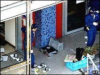 Police investigators at crime scene