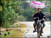 Two girls on a bike in southern Laos