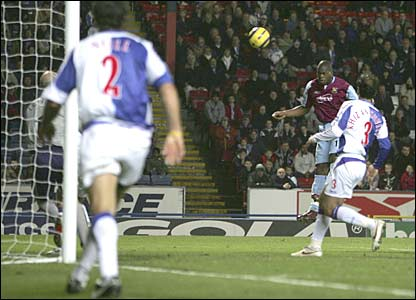 West Ham's Marlon Harewood heads home to level at 2-2