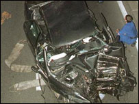 Wreckage of Diana and Dodi's car in Paris