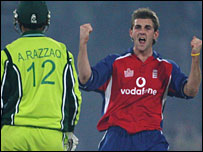Plunkett celebrates a wicket in Saturday's match