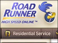 Screen grab showing Time Warner's Road Runner high speed cable internet service