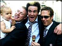 Flintoff, Pietersen and Vaughan celebrate their Ashes success