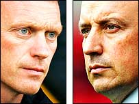 Everton manager David Moyes (left) and Liverpool boss Rafael Benitez