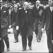 Winston Churchill greeting the crowds on VE Day