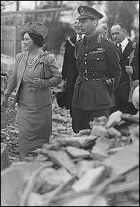 George VI and Queen Elizabeth in London during the blitz