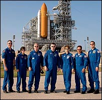 STS-114 crew gathered for questions at Launch Pad 39B on 3 May, Nasa