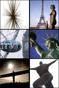 B of the bang, The Eiffel Tower, London Eye, Statue of Liberty, The Angel of the North and  Willowman