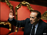 Italian Prime Minister Silvio Berlusconi addresses the senate