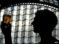 Silhouette of man with beer glass.  Image: AP