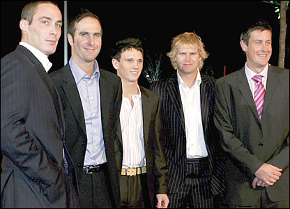 (From left to right) Ashes stars Simon Jones, Michael Vaughan, Gary Pratt, Matthew Hoggard and Ashley Giles