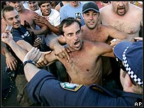 Police confront youths at Cronulla Beach, Sydney