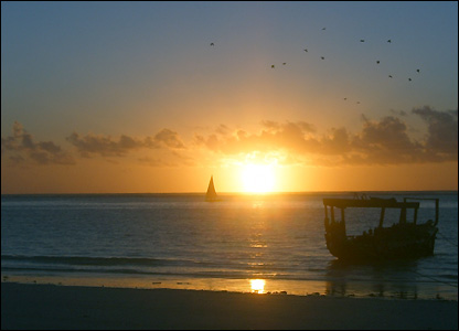 Sunrise at Matemwe in north-east Zanzibar, 6.00am