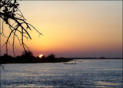 Sunset over the Chari River in Chad