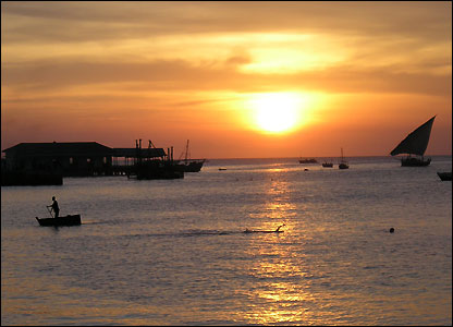 is sunset in Stonetown, Zanzibar,
