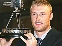 Andrew Flintoff with the BBC Sports Personality trophy