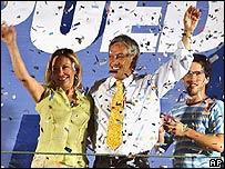 Sebastián Piñera celebra junto a su esposa Cecilia Morel y su hijo Cristóbal