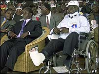 Mwai Kibaki in a wheelchair