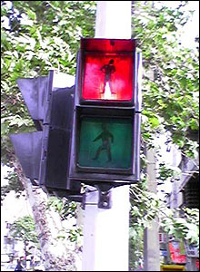 Traffic lights on street in Tehran