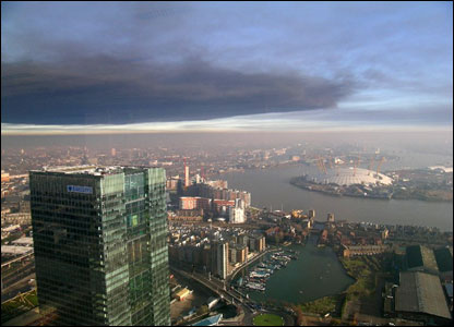 View from the top of the Citigroup tower in Canary Wharf.