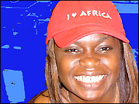 BBC Network Africa presenter Uduak Amimo wearing an I Love Africa baseball cap