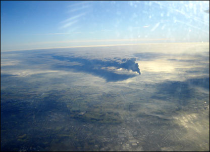 View of smoke cloud from plane.