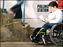 Woman in a wheelchair by the steps of a polling station (generic)