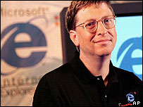 Bill Gates with his Internet Explorer