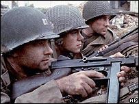 Tom Hanks. Matt Damon and Edward Burns in Saving Private Ryan