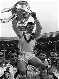 Alex Murphy is hoisted aloft by his St Helens team-mates after the 1966 Challenge Cup win