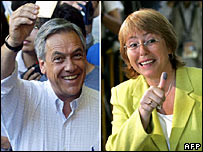 Sebastian Pinera and Michelle Bachelet after casting their vote in Santiago, Chile