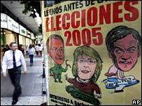 A wall shows the cover of a Chilean magazine with presidential candidates 