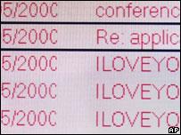 Lovebug virus in e-mail inbox, AP