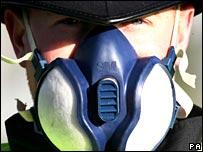 Policeman wearing face mask.  Image: AP