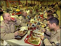 Thanksgiving dinner for US soldiers in Mosul, Iraq