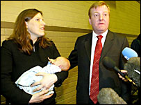 Charles Kennedy with wife Sarah and baby Donald after being returned to his seat