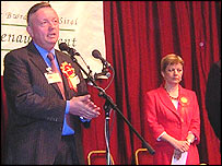 Peter Law's acceptance speech with Maggie Jones (right)