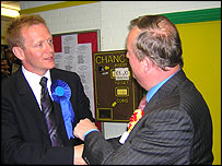 Peter Law is congratulated by Conservative candidate Phillip Lee