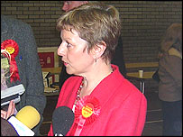 Labour's Maggie Jones at the Blaenau Gwent count