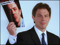 Photo of Tony Blair on the campaign trail 97