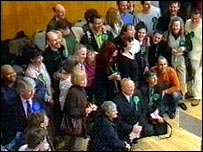 Green Party supporters at a 2005 general election count