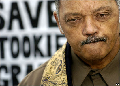 US civil rights leader Jesse Jackson outside San Quentin prison