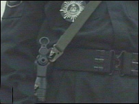 A RAB personnel alert with his gun