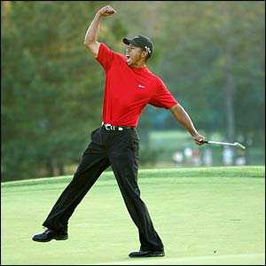 Tiger Woods celebrates his play-off win at Augusta in April