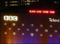 Anuncio en un edificio de la BBC sobre la victoria de Blair