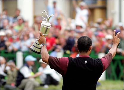 Tiger Woods salutes fans at St Andrews after his Open victory