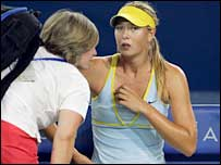 An injured Maria Sharapova