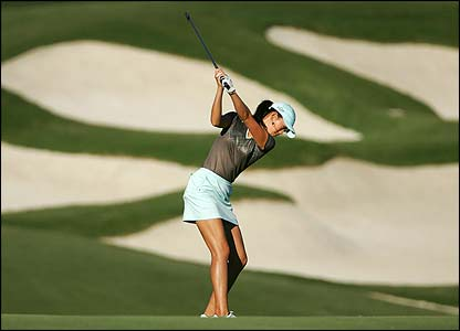 Michelle Wie plays an approach during the Samsung World Championship at Bighorn