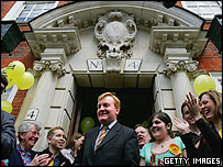 Charles Kennedy at party headquarters