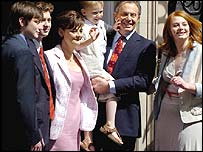 The Blair family outside Number 10